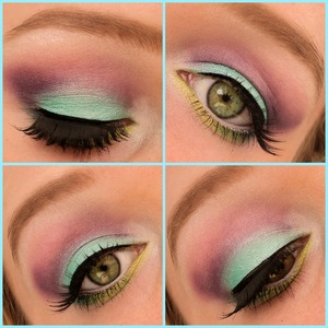 I made this mermaid look using the sleek candy palette(which I really like). I used a primer from a dutch brand and above that I used nyx eyeshadow base in white to make the eyeshadow colors pop. On the waterline I used jumbo pencil in milk and on my brows the elf studio eyebrow kit in ash. Hope you like it! Check out my blog if you like: http://themakeuphotspot.nl