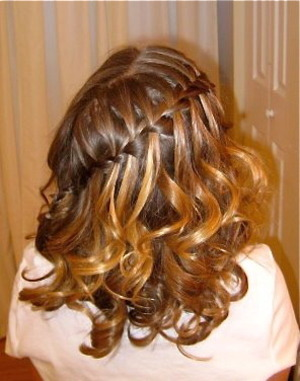 Waterfall French Braid with Curls