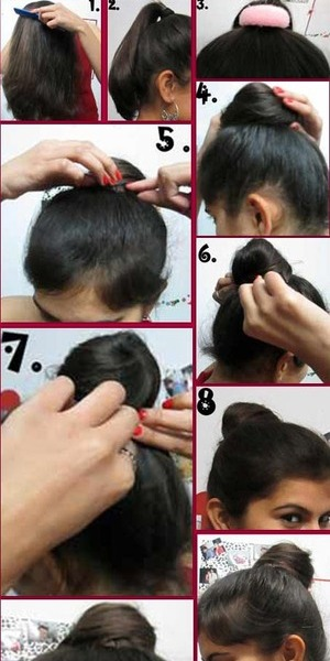 This hairstyle is called the top knot and It has a number of variants.I find it very easy, quick and sexy, it can be made in 5-7 minutes. I would recommend you all to try this hairstyle.Here are the steps to try this hairstyle http://www.stylecraze.com/articles/top-knot-tutorial-with-detailed-steps-and-pictures/