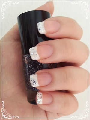 white nails with glitter :)
