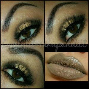 """Day one of a 30 day challenge I'm doing. """"Nude""""  For the eyes I used """"The Nudes"""" palette by Maybelline and lips is a dark grey pencil with a nude lipstick on top.  @lovelylilmakupaddict lovelylilmakupaddict.blogspot.com"""