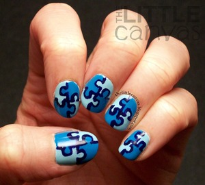 Light it up blue! My autism awareness manicure for National Autism Awareness Month! http://thelittlecanvas.blogspot.com/2013/04/autism-awareness-puzzle-piece-manicure.html