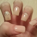 Neutral Colored Nails with Gemstones