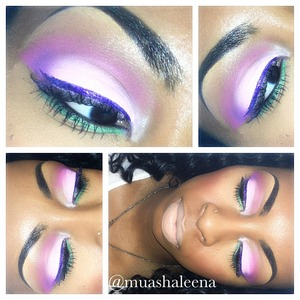 To complete this whole look, I used my Coastal Scents 88 color Prism Palette. Baby pink on my lid, magenta in my full crease, in the corner crease I used purple, under my eye I used the green from that palette. The lipstick I used is PeachStock from MAC
