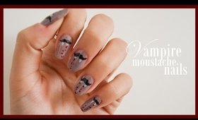 Vampire Moustache Nails ● Halloween Nail Art