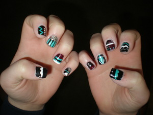 My version of Aztec Nails with mustaches :)