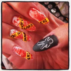 crime scene Halloween nails inspired by pinterest