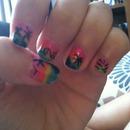 palm trees nail art