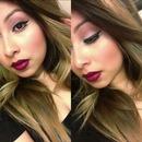 eyeliner burgundy lipstick ombré hair