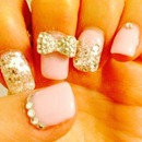 My spring nail design#crystals#bow#sparkles