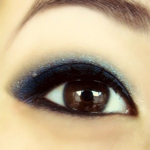 A dark, blue smoky eye. Great for formal events or just going out!