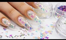 90's Clear Encapsulated Glitter Nails!