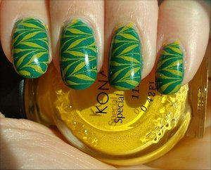 Green & Yellow Nails More photos here: http://www.swatchandlearn.com/nail-art-bb-couture-frontier-woman-konadicure-using-konad-image-plate-m78/
