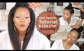 Thinning Natural Hair Update, Ninja Bun/Top Knot Tutorial & Chit Chat #noediting #superlongvideo