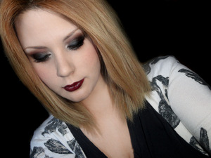 Sultry Smoky Silver Eyes with Burgundy Lips