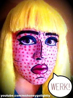 Drag queen Honey Golightly's pop art look.