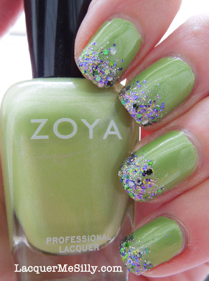 Zoya Tracie with Candeo Colors Mallard sponged as a gradient.