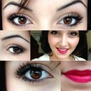 makeup with bright cherry lips :)