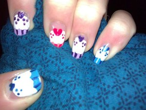 Did this one after I did the other cupcake one with the polka dots. I thought this one was more colorful and more fun.