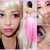 Ombre Pink & Glitter ~ Short Chiffon Hanky Hem Dress.