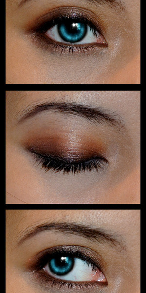 All lid colours are from UD's Naked Palette 1, and Pop Beauty's BritPop palette. Eyeliner from Sephora, and mascara from Makeup Forever. Basically, darker colours go near the lashline, and lighter colours up toward the crease (: have fun!