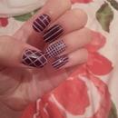 Purple striping tape nails