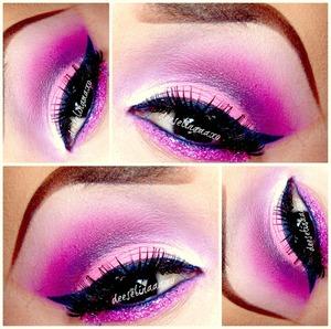 Pink & Glitter On Lower Lash Line