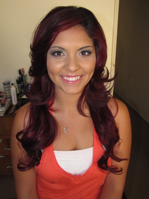 My little sister's hair and makeup by me for her senior pictures!(: