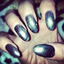 stiletto gelish metallic nails
