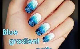 Blue gradient nails tutorial