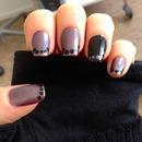 Black Dotted Metallic Nail Art