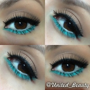 A use nude colors on my lid and add a brown on my crease Under my eye i used the nyx jumbo pencil in milk to make the teal eyeshadow pop out