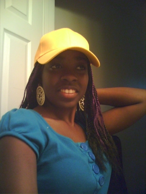 purple hair... my fav color with big heart earrings