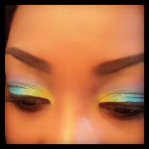 my favorite color combo. yellow, green, blue, purple, pink with a cat eye :]