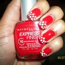 Red and White dot mani