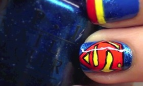 I Love SuperMan Nails