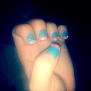 pastel blue and pink with glitter over coat its a bit rough on texture but please state your opinion