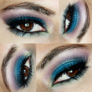 Turquoise and purple eye makeup