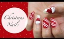 Christmas Nails| Candy Cane, Snow & Santa's Hat ♡