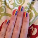 rainbow glitty nails