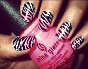 These are awesome zebra print nails with a color gradient underneath. A personal favorite!