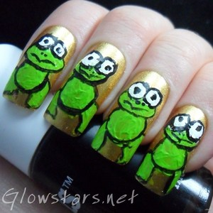 To find out more about this mani visit http://glowstars.net/lacquer-obsession/2012/10/frogs