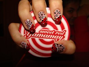 Nails that I did, reminds me of coca cola ;)
