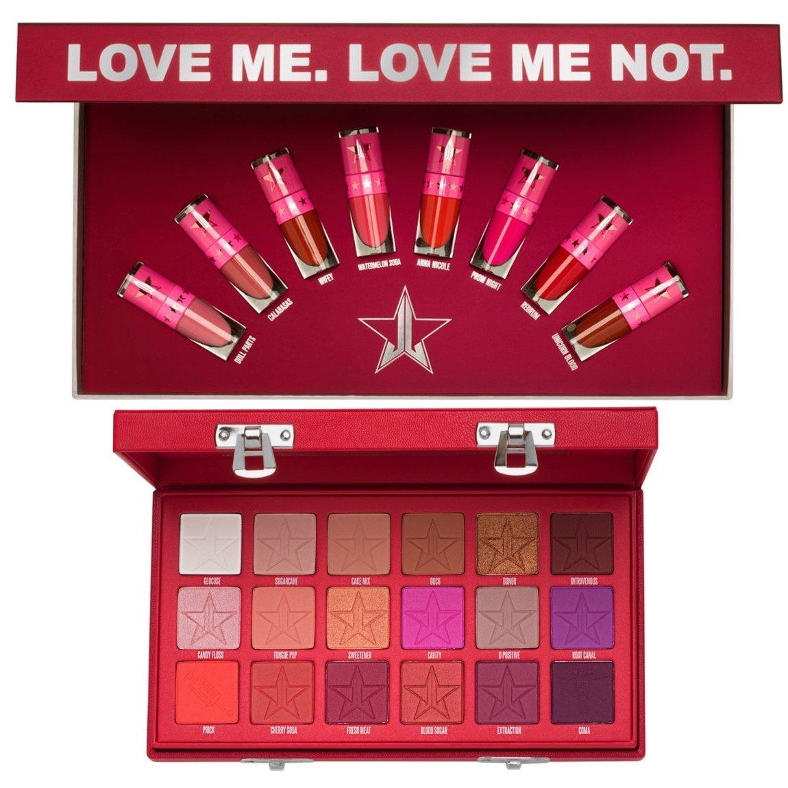 Jeffree Star Cosmetics The Mini Velour Liquid Lipsticks: Reds & Pinks & Blood Sugar Eyeshadow Palette Bundle product swatch.