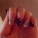 Gel nails - burgundy and nude