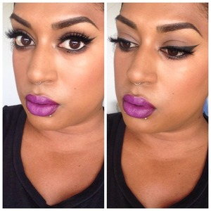 "House of Fairy ""Noir Fairy"" lashes, thick winged liner & the STAR Black Radiance lipstick in Plum Orchid with a dab of OCC Liptar in Belladonna for opacity xx"
