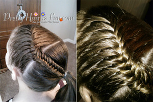 Fishtail braid pulled into a ponytail