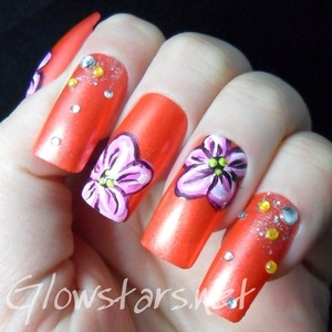 For more nail art and a tutorial on this look visit http://glowstars.net/lacquer-obsession/2013/03/flowers-tutorial