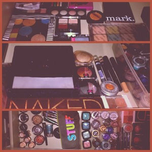 inside the drawer to my makeup station
