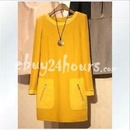 Womens Long Sleeve Wool Yellow Plus Size Dress